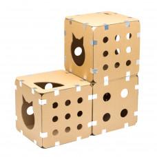Домик-коробка для кошек сборный. Расширенный набор, 3 куба