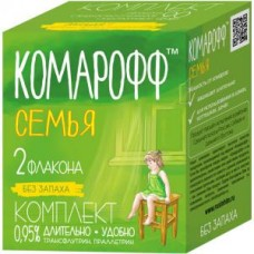 Комарофф Комплект от комаров из 2-х флаконов СЕМЬЯ 90 ночей, без запаха, 2 флакона по 30 мл